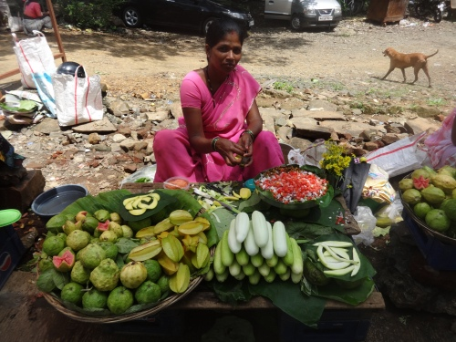 Local woman selling snacks