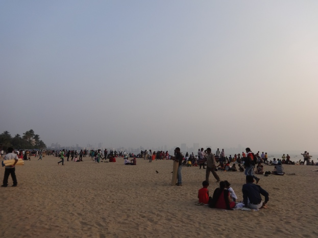 People relaxing at Girgaon Chowpatty
