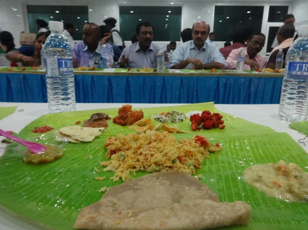 Traditional food served on banana leaf