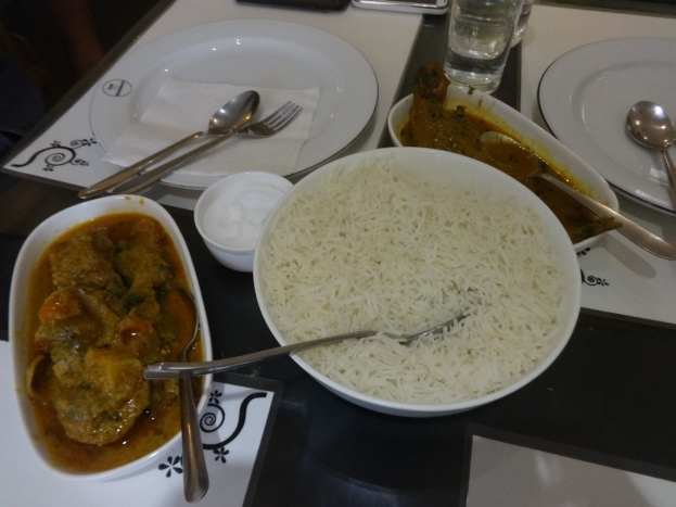 Bengali fish curry and rice