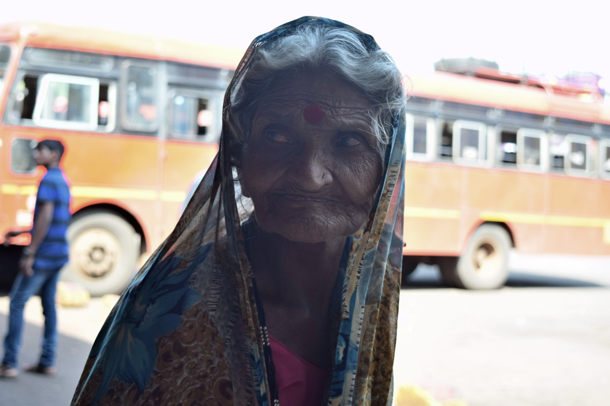 An old lady from Ratnagiri Station